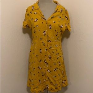 Yellow flower collared button down dress